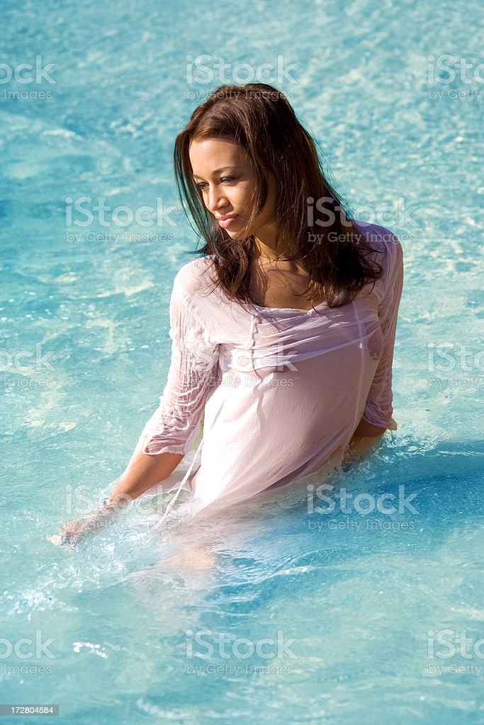 Lady in water royalty-free stock photo