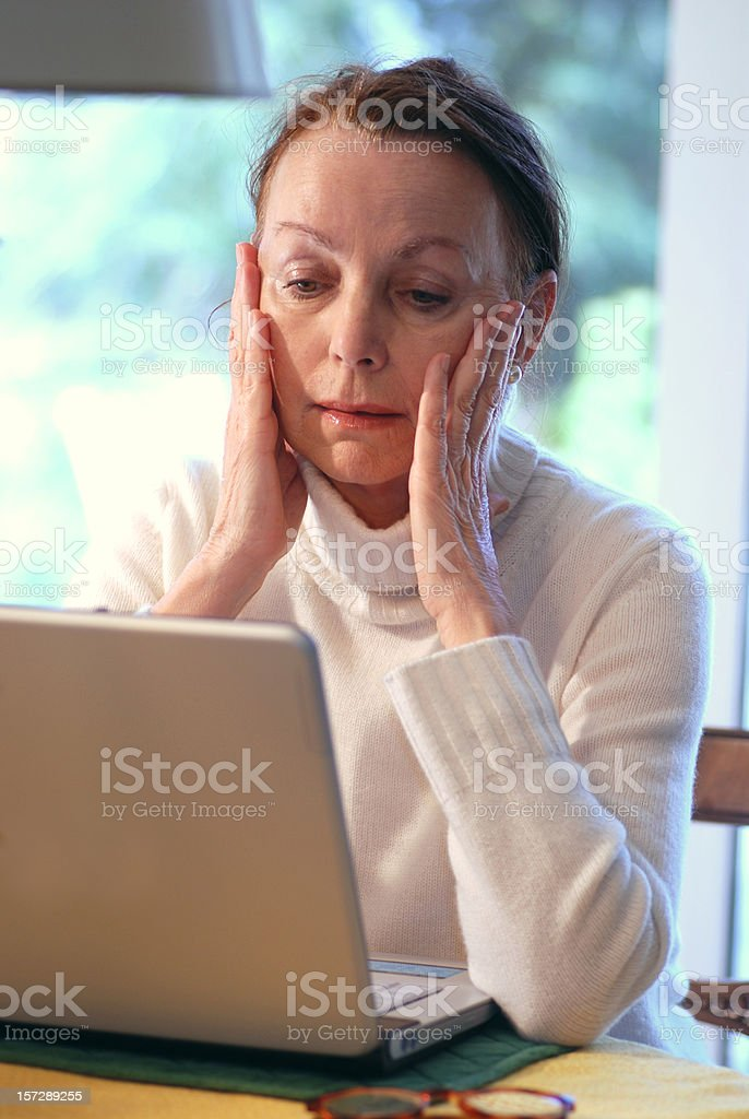 lady is overstrained with notebook royalty-free stock photo