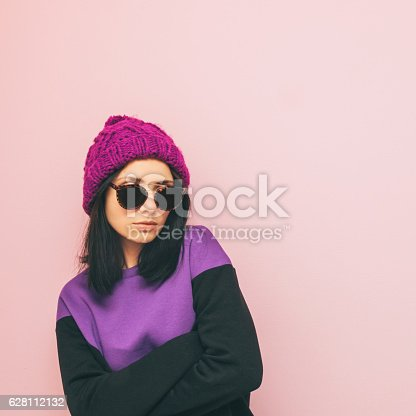istock lady is standing in winter clothing 628112132