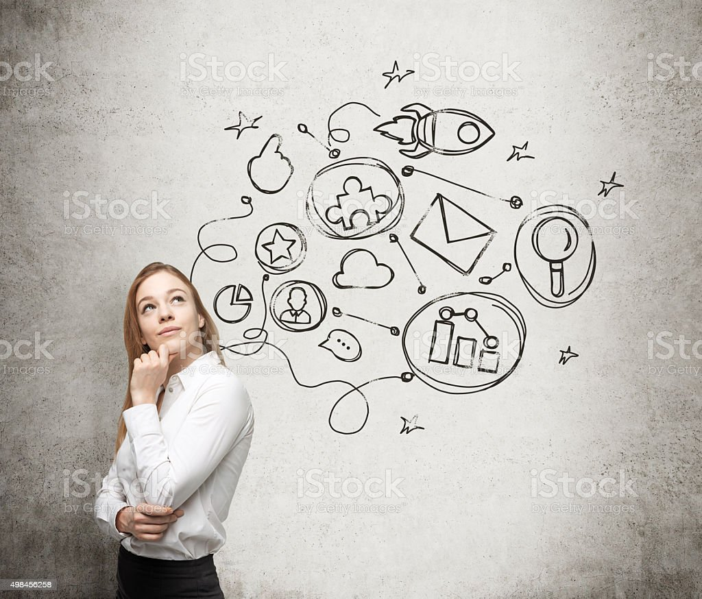 lady is thinking about an optimisation scheme stock photo