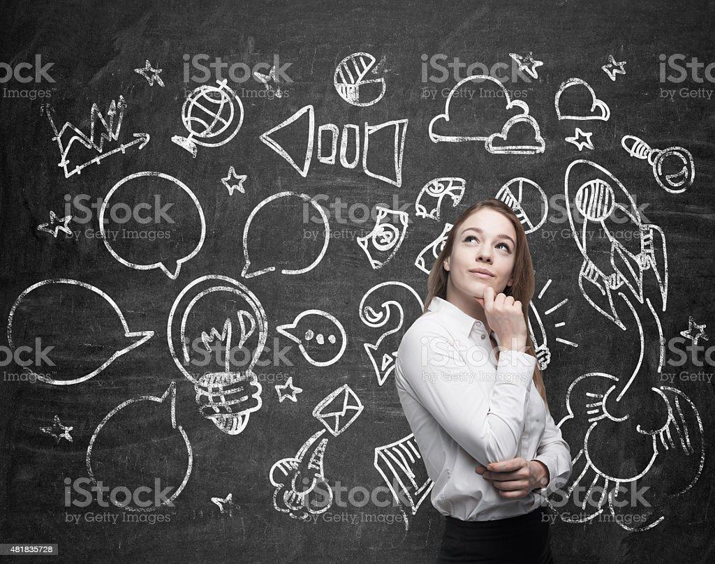 lady is thinking about optimisation of the marketing stock photo
