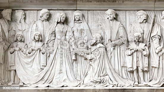 Detail of the frieze on the exterior of the Supreme Supreme Court in Parliament Square, London. The carvings depict Lady Jane Grey being offered the Crown by the Duke of Northumberland.