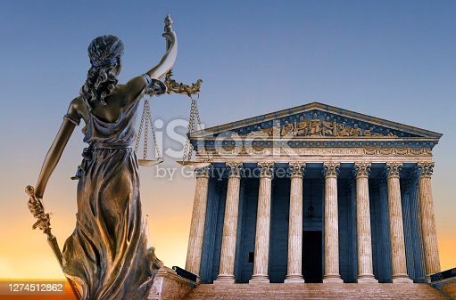 Lady Justice and the United States Supreme Court building.