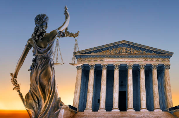 Lady Justice And Supreme Court Building stock photo