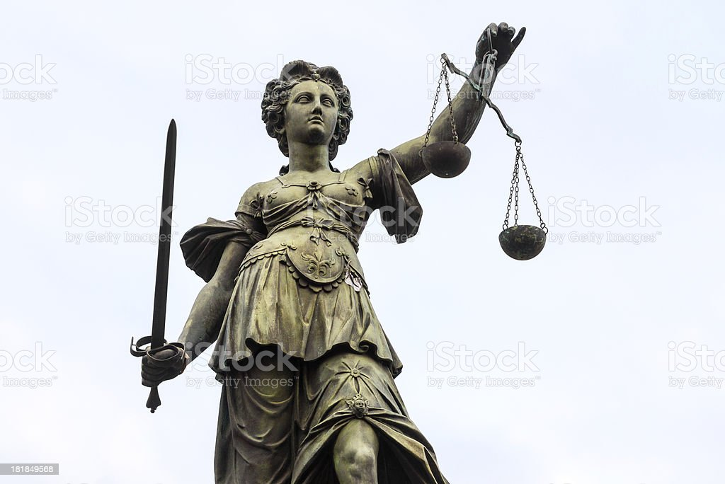 Lady Justice Justicia, Frankfurt royalty-free stock photo