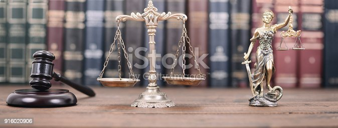 istock Lady Justice, Scales of Justice and Judge Gavel on a  wooden background. 916020906