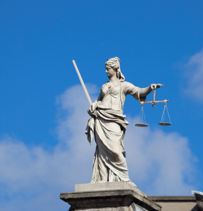 Lady Justice Statue In Dublin Stock Photo - Download Image Now