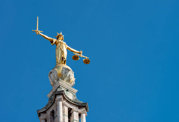 Lady Justice statue in London stock photo