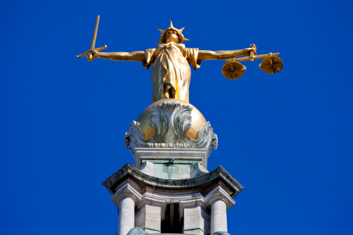 Lady Justice Statue Ontop Of The Old Bailey In London Stock Photo - Download Image Now