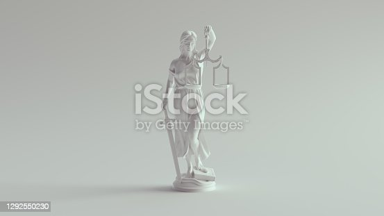 istock Lady Justice Statue the Personification of the Judicial System Pure White 1292550230