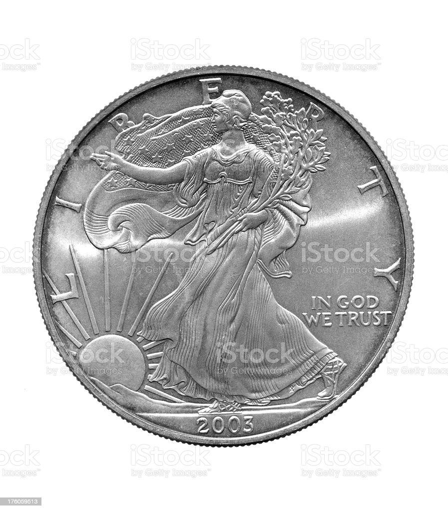 Lady Liberty Silver Dollar royalty-free stock photo