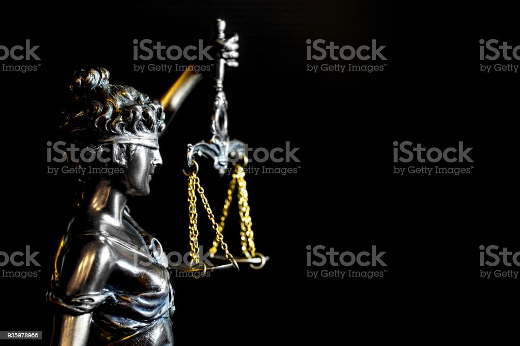 Lady of Justice or Themis (Symbol of justice) and copy space stock photo