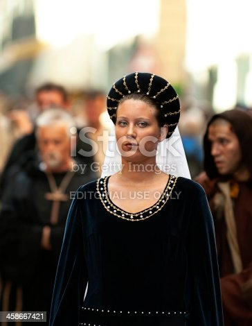 Asti, Italy - September 19, 2010: Young Medieval Princess, during the historic parade of the Palio of Asti in Piedmont, Italy