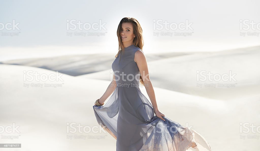 Lady of the dunes stock photo