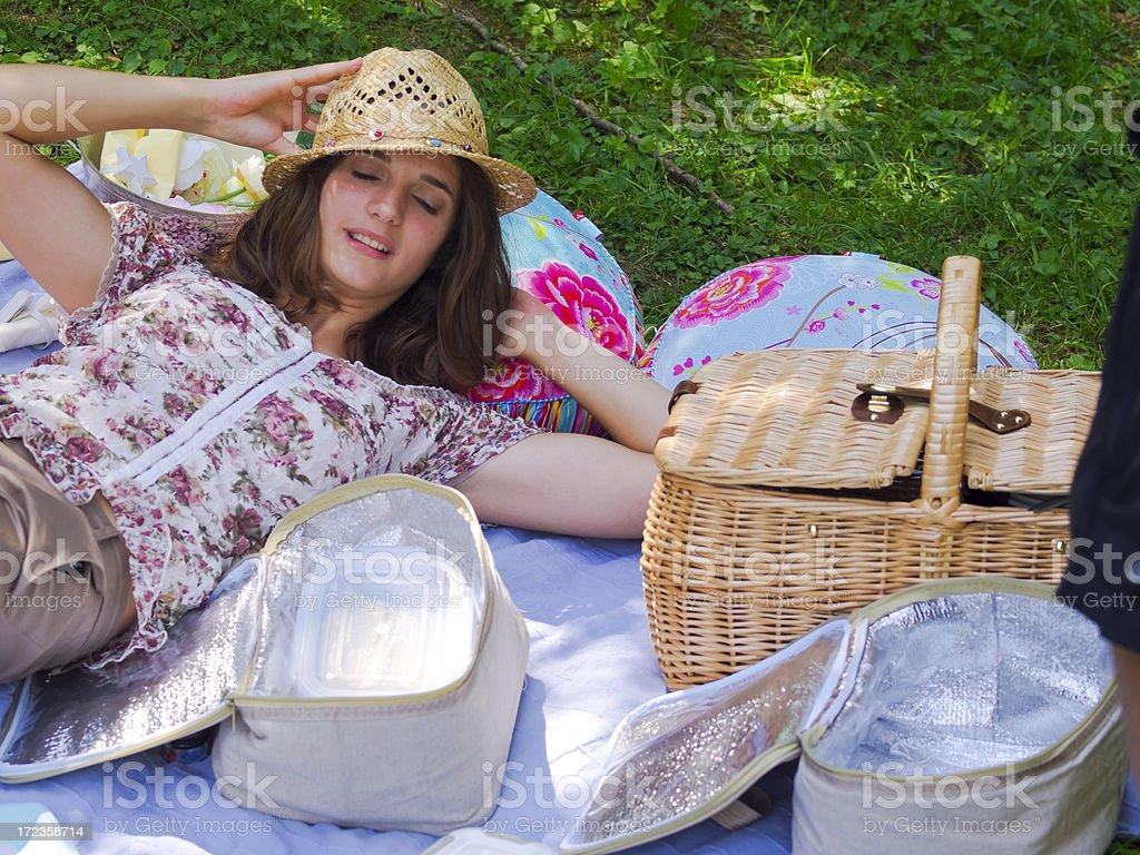 Lady on picnic royalty-free stock photo
