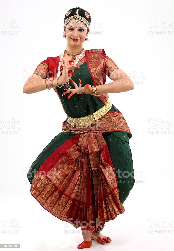 Lady performing bharatanatyam dance stock photo