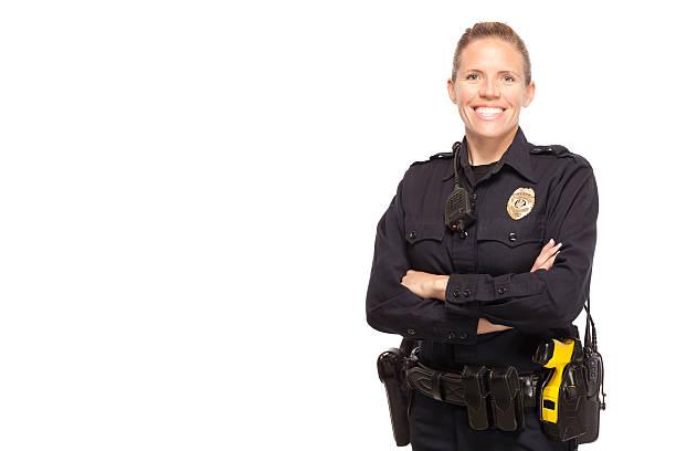 lady policjant upozowując z skrzyżowane ręce - policja zdjęcia i obrazy z banku zdjęć