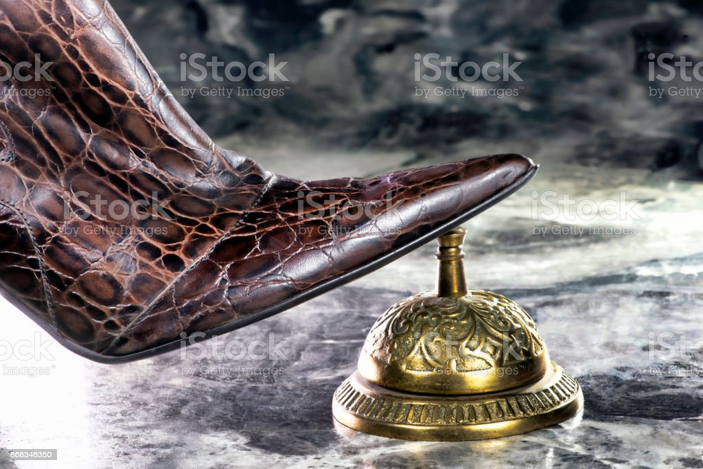 Lady Rings Bell. stock photo