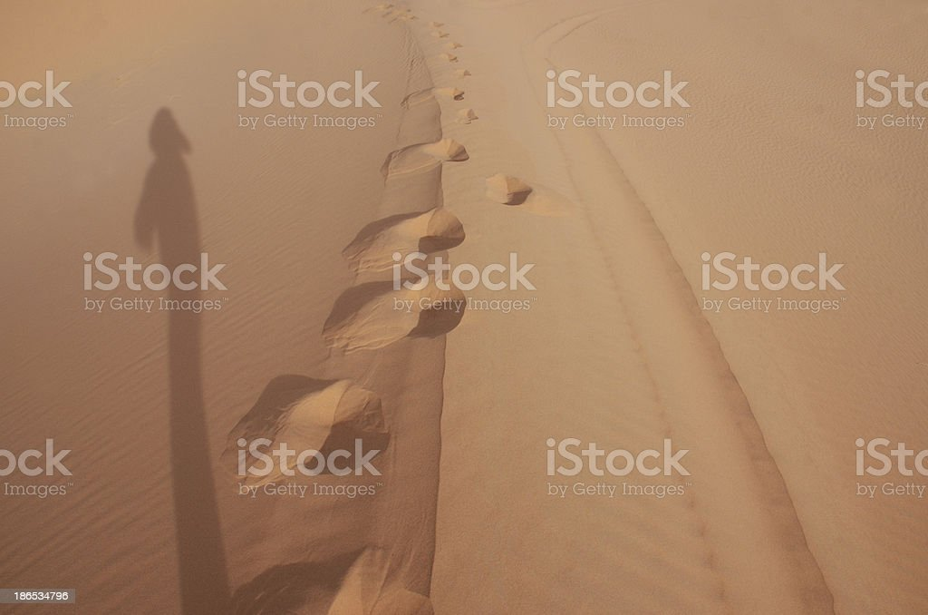 Lady Shadow on Sand Dune royalty-free stock photo