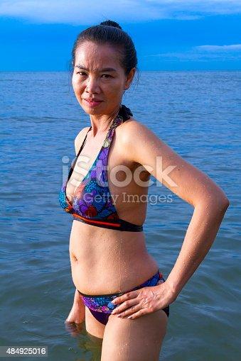 istock lady show bikini in water 484925016
