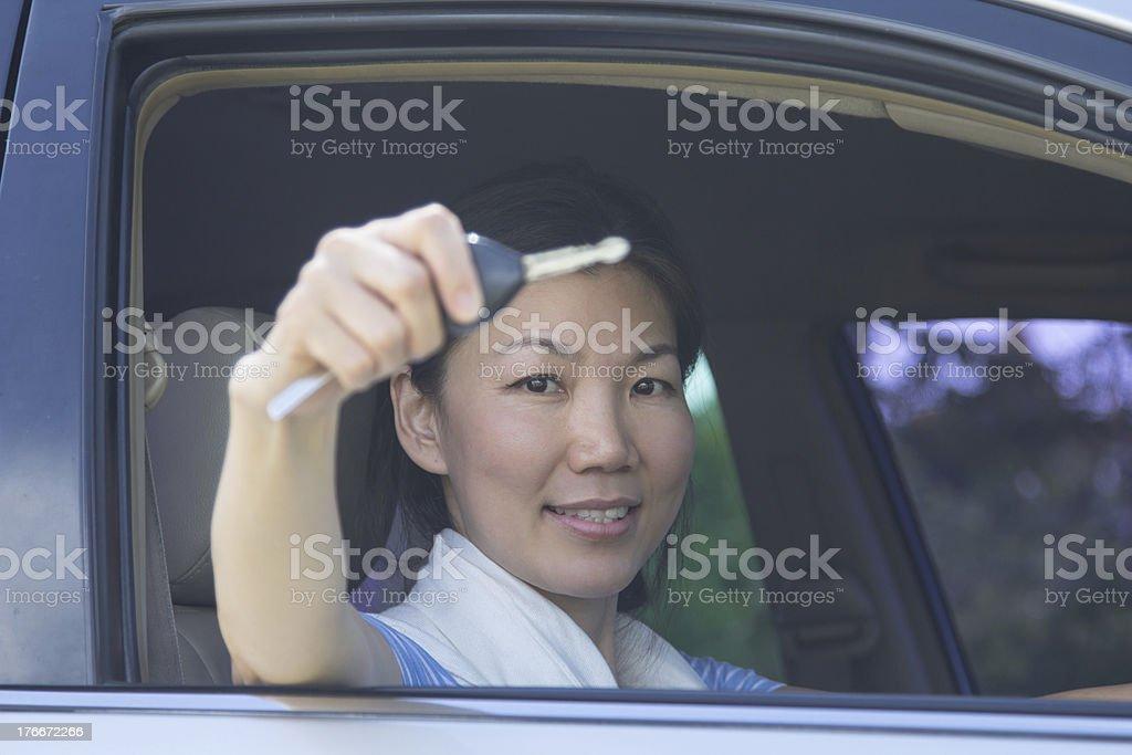 lady show key royalty-free stock photo