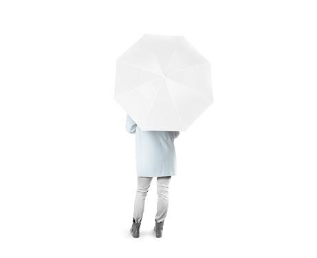 Lady stand backwards with white blank umbrella opened mockup
