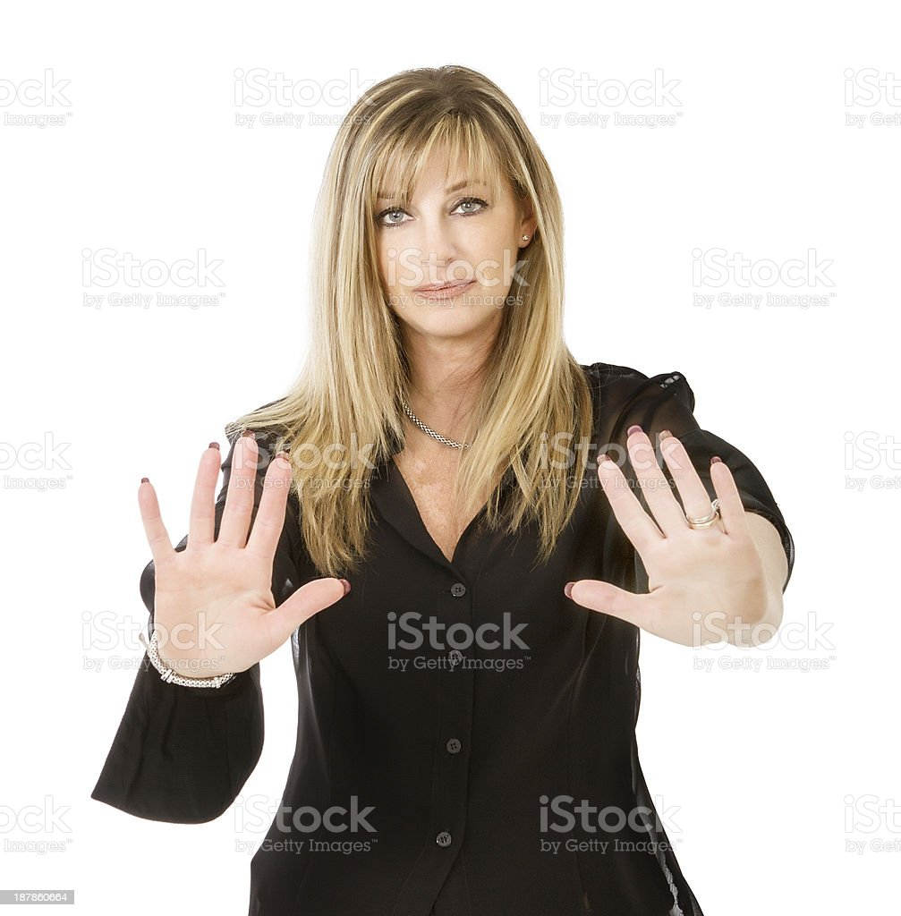 lady stop signal with hands royalty-free stock photo