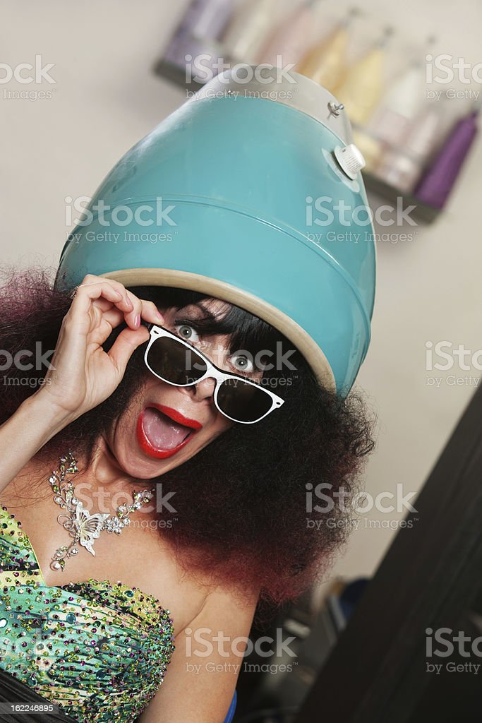 Lady Under Hair Dryer Shouting royalty-free stock photo
