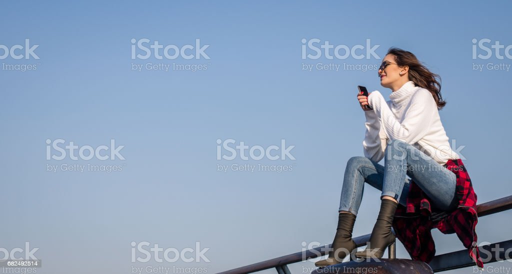 Lady under the clear blue sky royalty-free stock photo