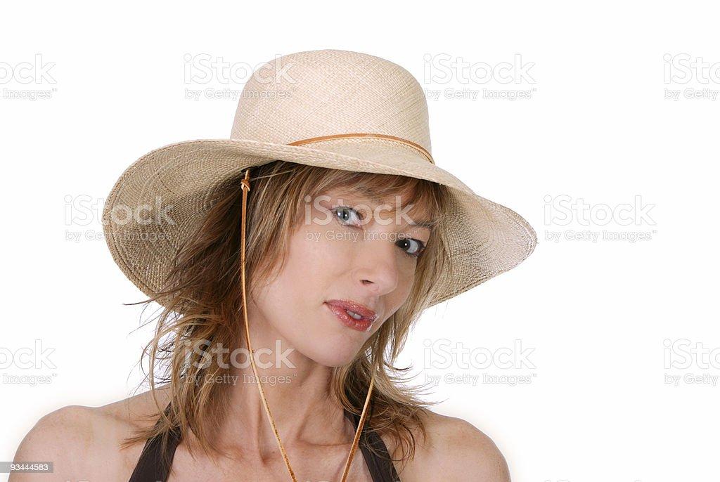 Lady mit einem Strohhut Lizenzfreies stock-foto