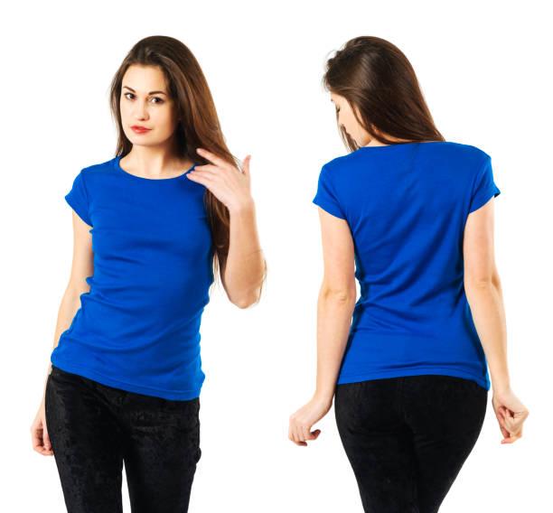 Lady wearing blank blue shirt stock photo