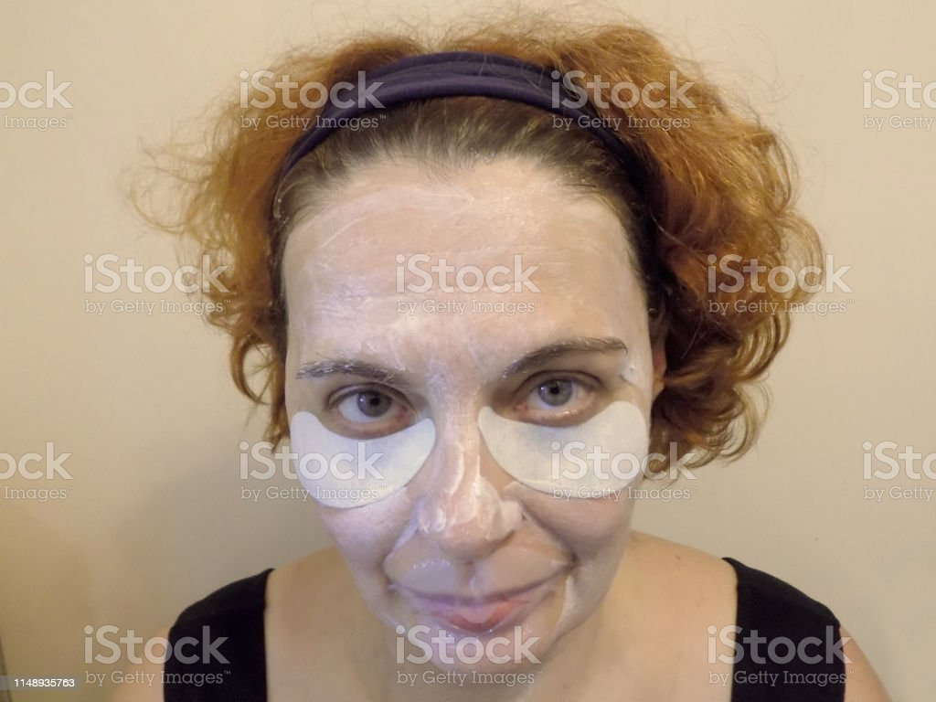 Cosmetic mask and patches against wrinkles around mouth and eyes