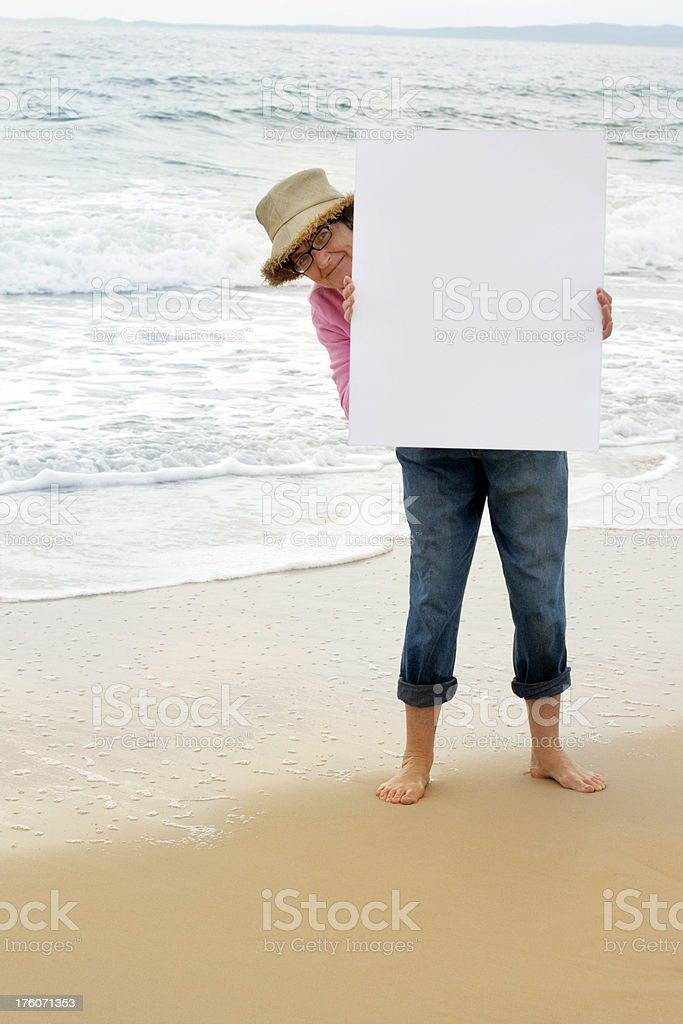 Lady with blank sign royalty-free stock photo