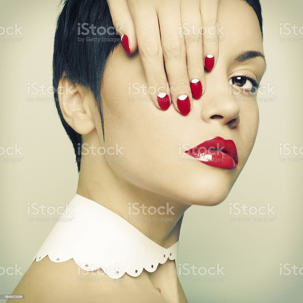 Lady with bright nail polish royalty-free stock photo