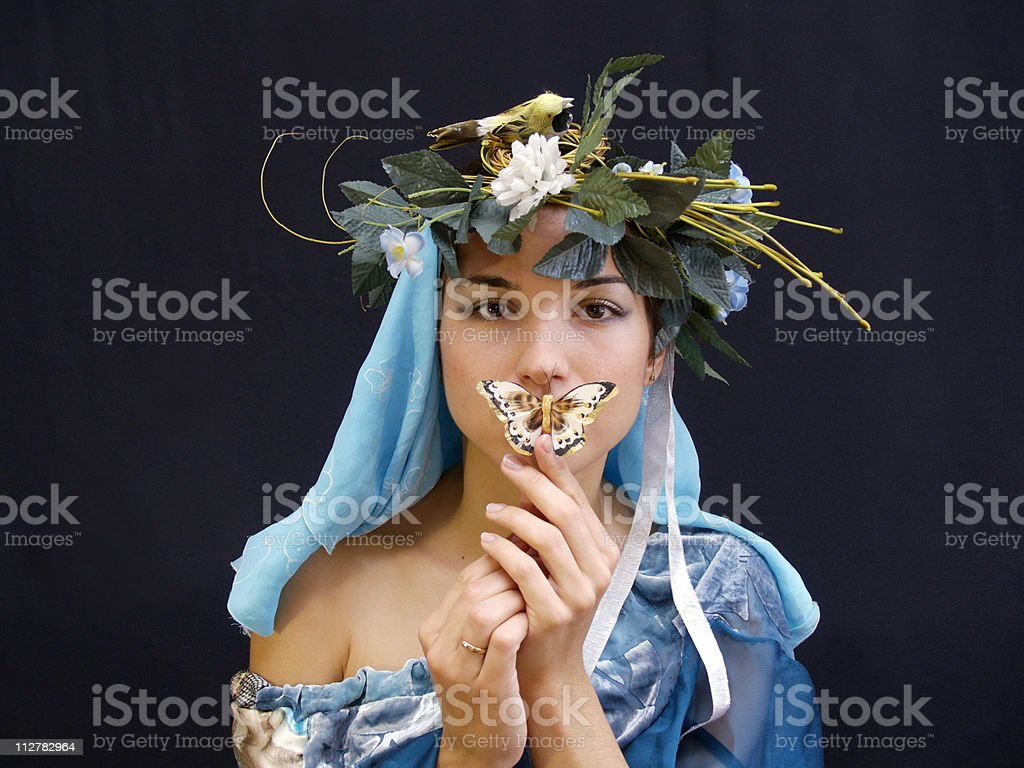 Lady with butterfly blue royalty-free stock photo