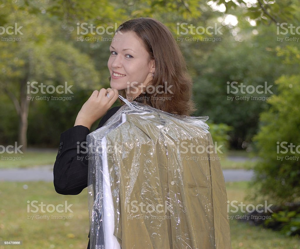 Lady with Drycleaning2 28 royalty-free stock photo