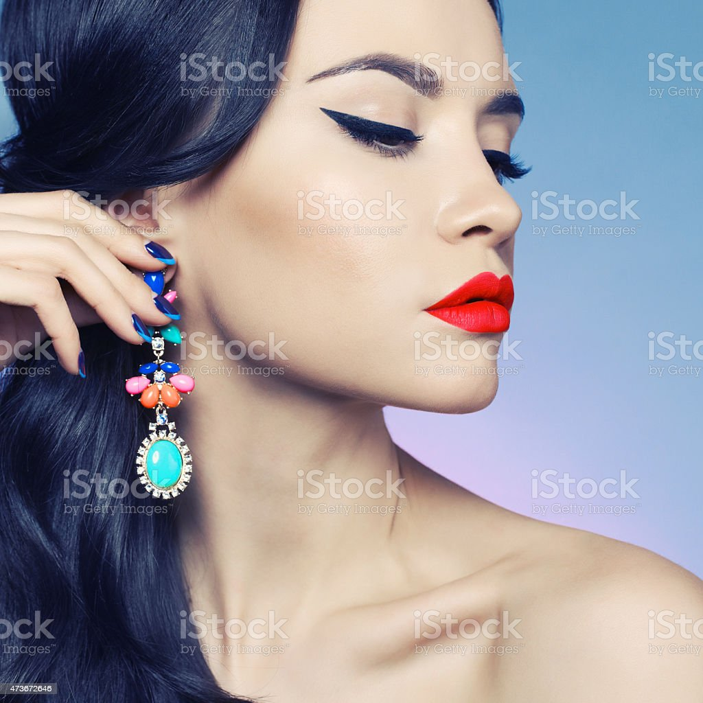 Lady with earring stock photo