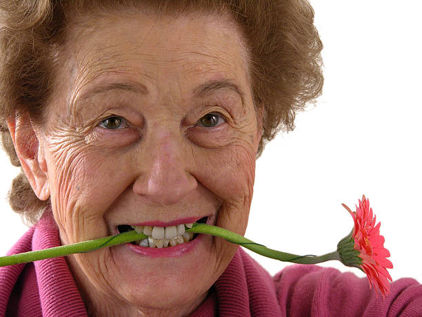 Lady with flower stock photo