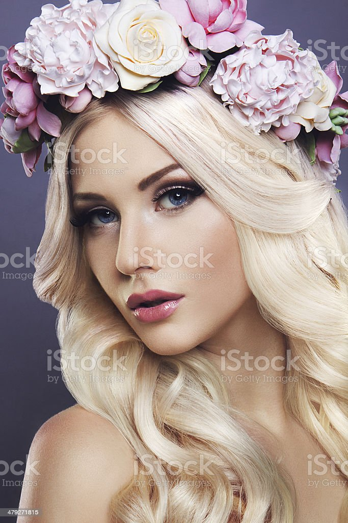 Lady with flowers stock photo