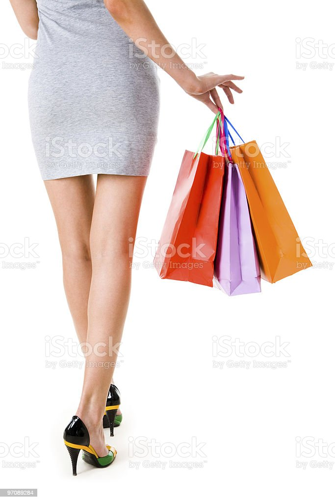 Lady with gifts royalty-free stock photo