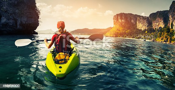 istock Lady with kayak 497408900