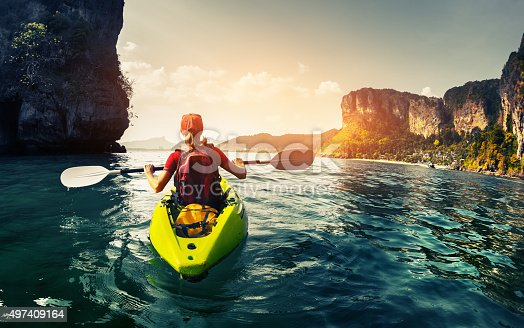istock Lady with kayak 497409164
