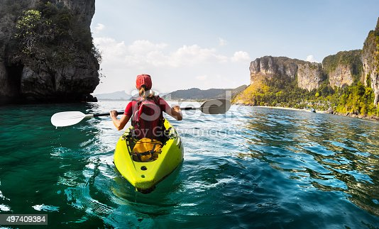 istock Lady with kayak 497409384