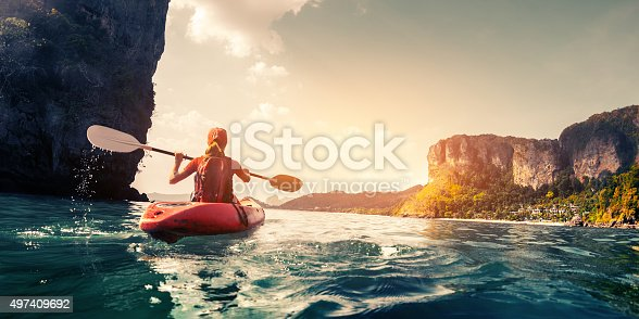 istock Lady with kayak 497409692