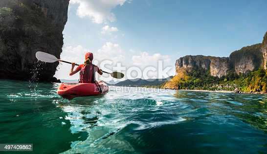 istock Lady with kayak 497409862