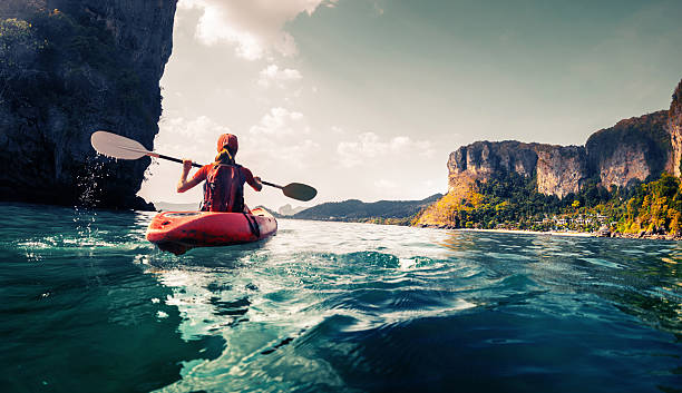 lady with kayak - travel stock pictures, royalty-free photos & images