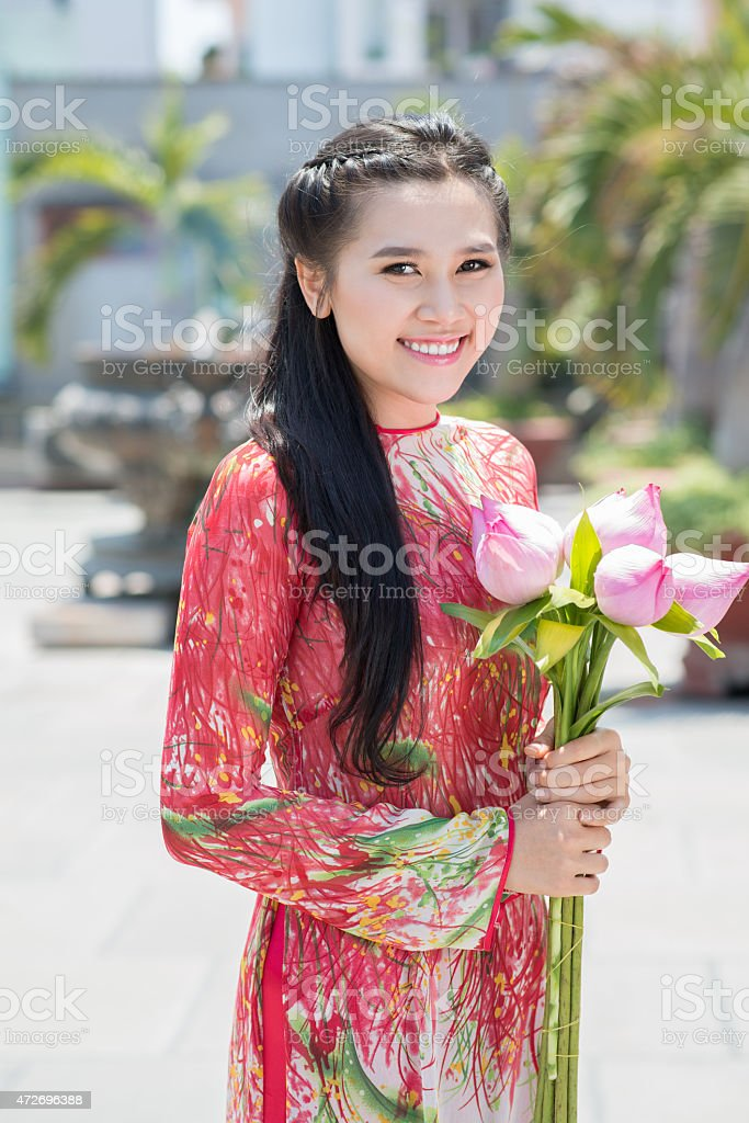 Lady with lotus stock photo