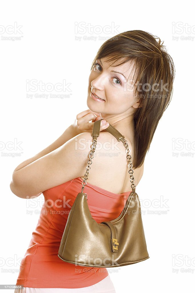 Lady with purse stock photo