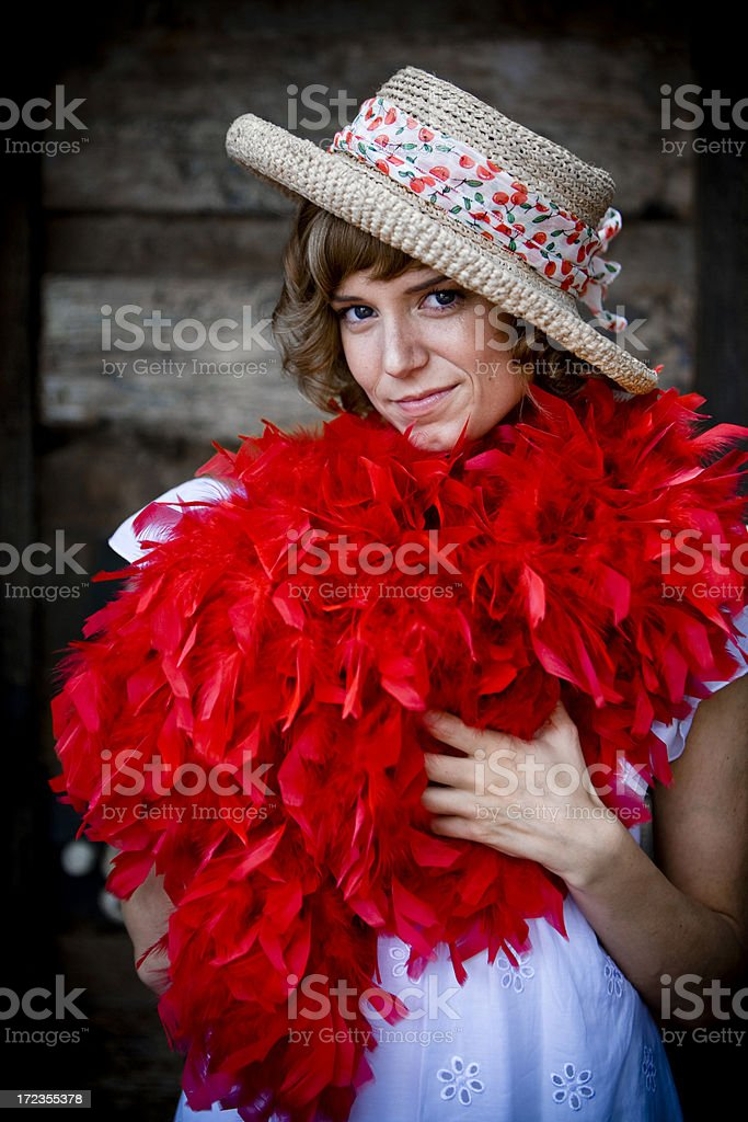 Lady with red scarf royalty-free stock photo