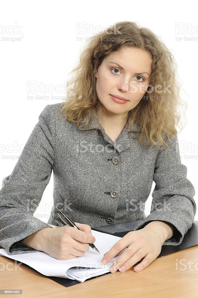 lady working at a  desk royalty-free stock photo